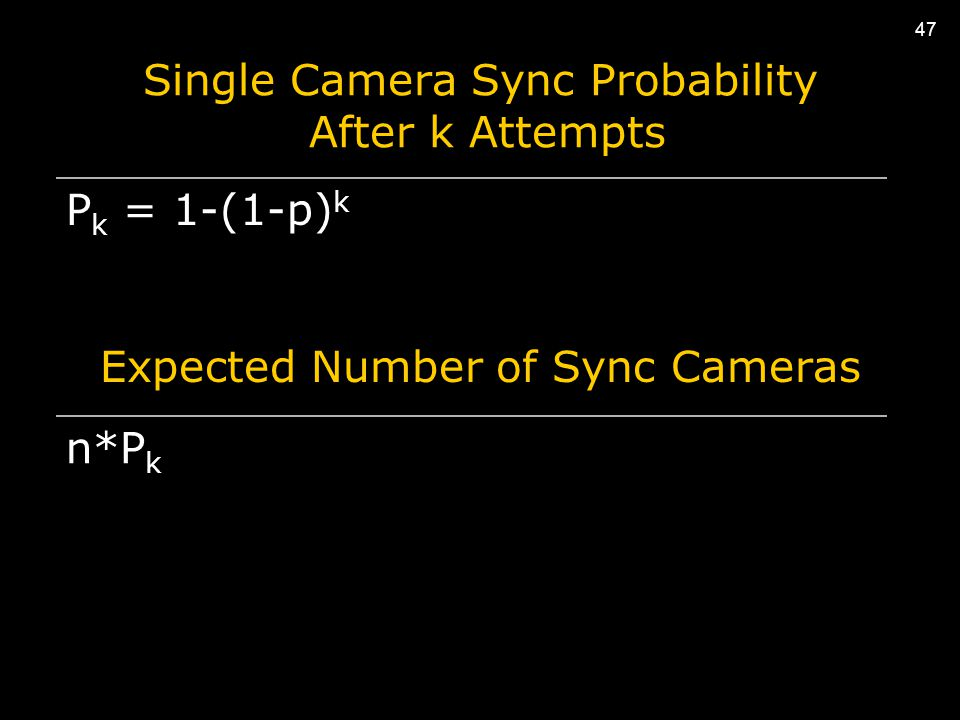 47 Single Camera Sync Probability After k Attempts P k = 1-(1-p) k Expected Number of Sync Cameras n*P k 47
