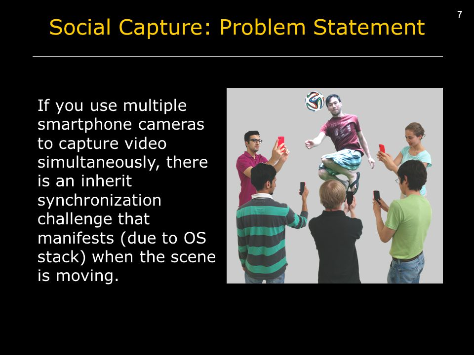 7 7 Social Capture: Problem Statement If you use multiple smartphone cameras to capture video simultaneously, there is an inherit synchronization challenge that manifests (due to OS stack) when the scene is moving.