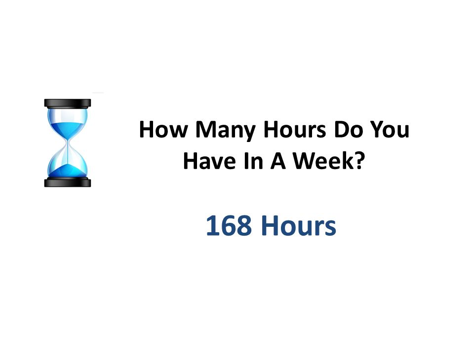 How Many Hours Do You Have In A Week 168 Hours