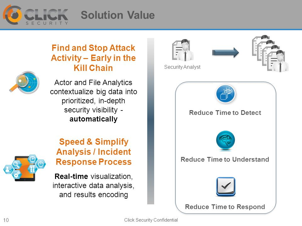 Solution Value Click Security Confidential 10 Find and Stop Attack Activity – Early in the Kill Chain Actor and File Analytics contextualize big data into prioritized, in-depth security visibility - automatically Speed & Simplify Analysis / Incident Response Process Real-time visualization, interactive data analysis, and results encoding Security Analyst Reduce Time to Detect Reduce Time to Understand Reduce Time to Respond