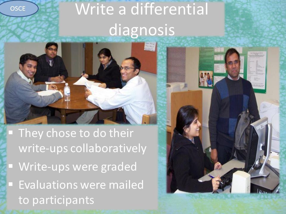 7/27/2010 Write a differential diagnosis  They chose to do their write-ups collaboratively  Write-ups were graded  Evaluations were mailed to parti