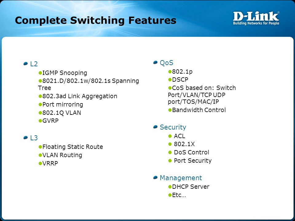 Complete Switching Features L2 IGMP Snooping 8021.D/802.1w/802.1s Spanning Tree 802.3ad Link Aggregation Port mirroring 802.1Q VLAN GVRP L3 Floating Static Route VLAN Routing VRRP QoS 802.1p DSCP CoS based on: Switch Port/VLAN/TCP UDP port/TOS/MAC/IP Bandwidth Control Security ACL 802.1X DoS Control Port Security Management DHCP Server Etc…