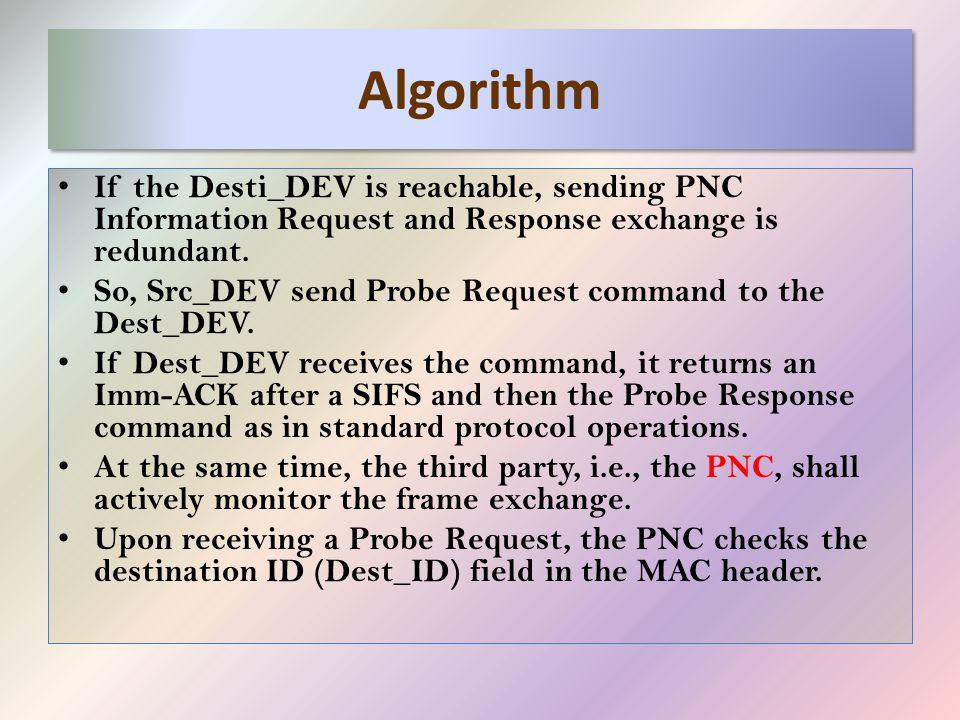 Algorithm If the Desti_DEV is reachable, sending PNC Information Request and Response exchange is redundant.