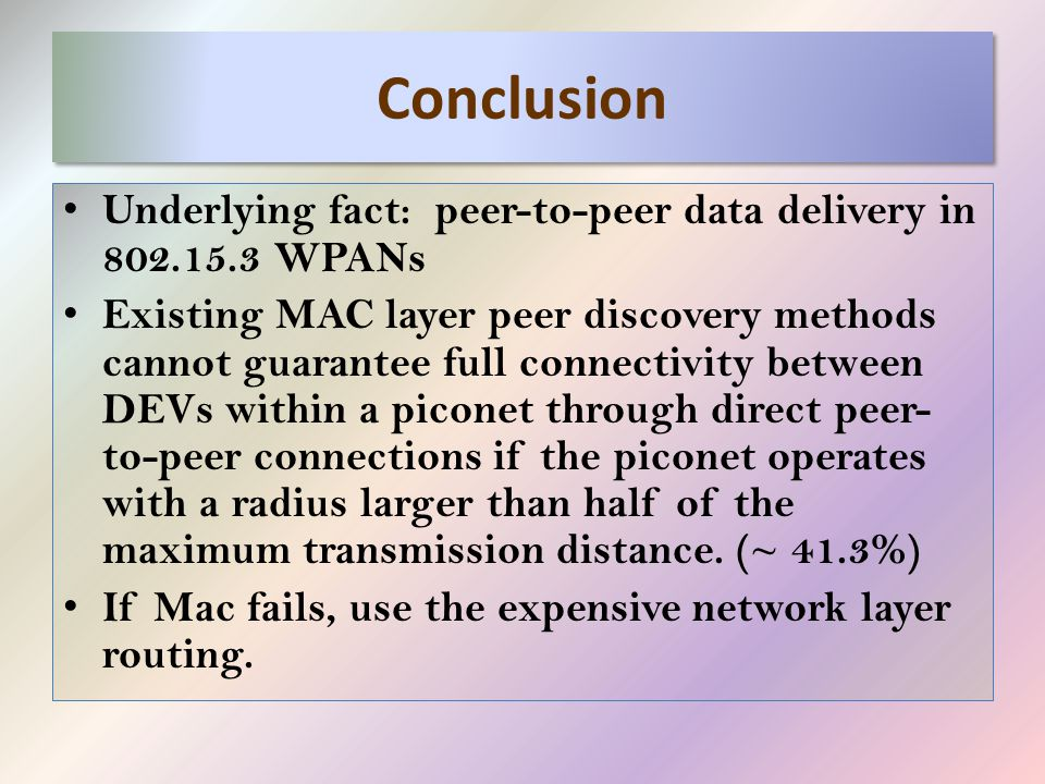 Conclusion Underlying fact: peer-to-peer data delivery in 802.15.3 WPANs Existing MAC layer peer discovery methods cannot guarantee full connectivity