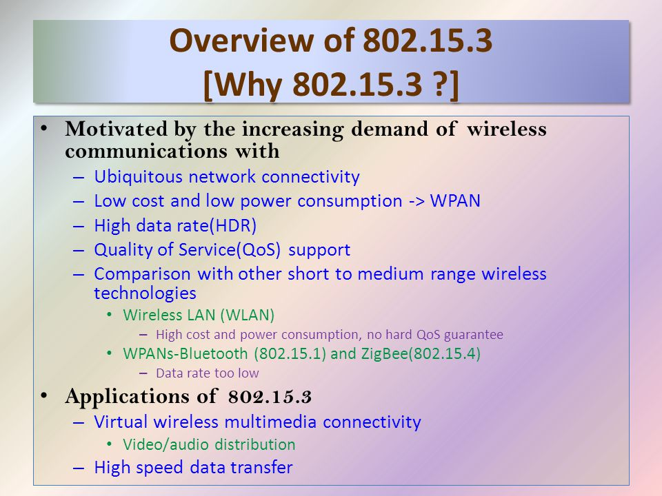 Overview of 802.15.3 [Why 802.15.3 ?] Motivated by the increasing demand of wireless communications with – Ubiquitous network connectivity – Low cost and low power consumption -> WPAN – High data rate(HDR) – Quality of Service(QoS) support – Comparison with other short to medium range wireless technologies Wireless LAN (WLAN) – High cost and power consumption, no hard QoS guarantee WPANs-Bluetooth (802.15.1) and ZigBee(802.15.4) – Data rate too low Applications of 802.15.3 – Virtual wireless multimedia connectivity Video/audio distribution – High speed data transfer