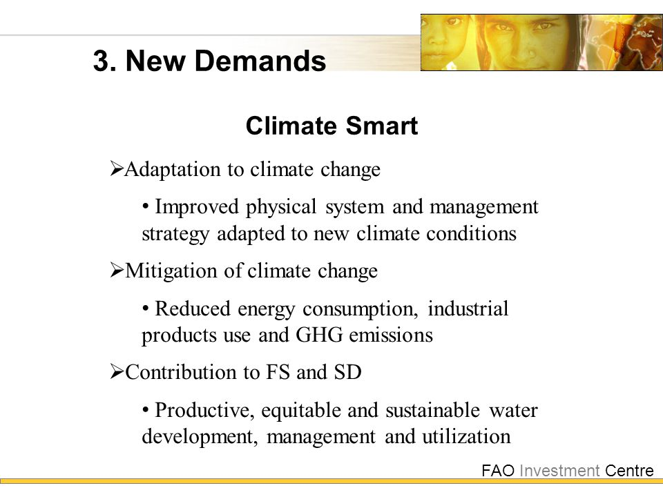 FAO Investment Centre 3. New Demands Climate Smart  Adaptation to climate change Improved physical system and management strategy adapted to new clim