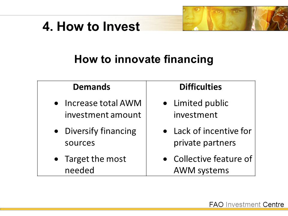 FAO Investment Centre 4. How to Invest How to innovate financing Demands  Increase total AWM investment amount  Diversify financing sources  Target