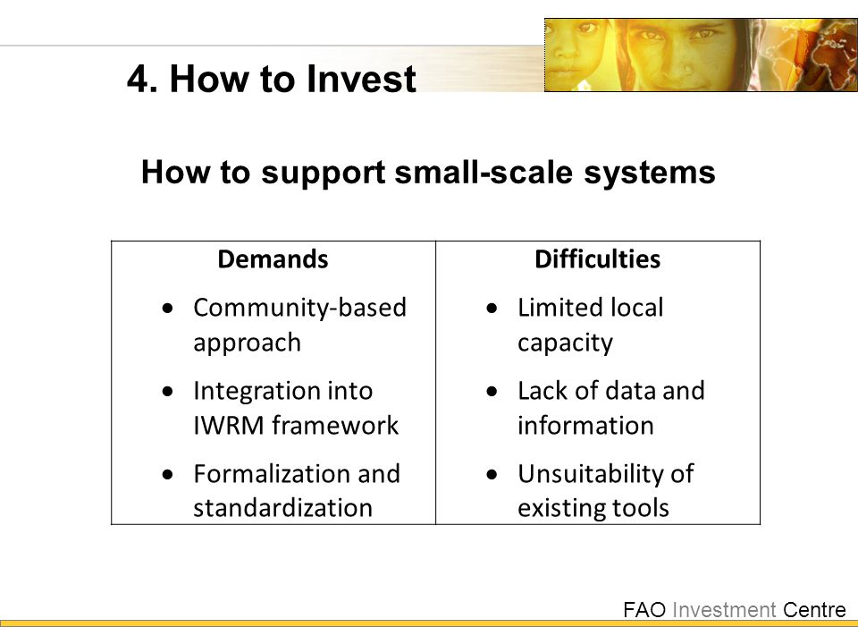 FAO Investment Centre 4. How to Invest How to support small-scale systems Demands  Community-based approach  Integration into IWRM framework  Forma