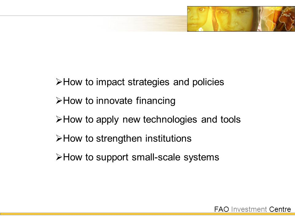 FAO Investment Centre  How to impact strategies and policies  How to innovate financing  How to apply new technologies and tools  How to strengthe