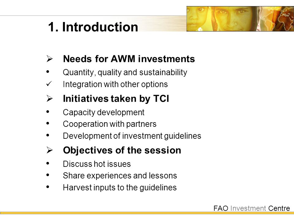 FAO Investment Centre 1. Introduction  Needs for AWM investments Quantity, quality and sustainability Integration with other options  Initiatives ta