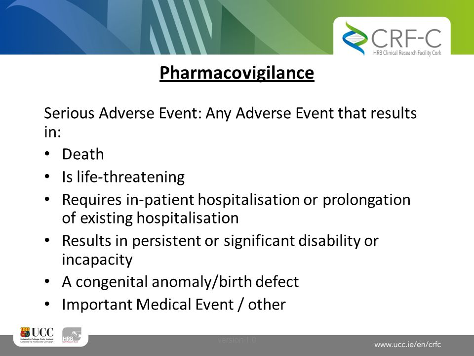 Pharmacovigilance Other safety data: Any issue in a clinical trial that impacts on either the risk or the benefit to subjects (or the study).