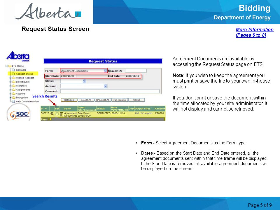 Page 5 of 9 Agreement Documents are available by accessing the Request Status page on ETS. Note: If you wish to keep the agreement you must print or s