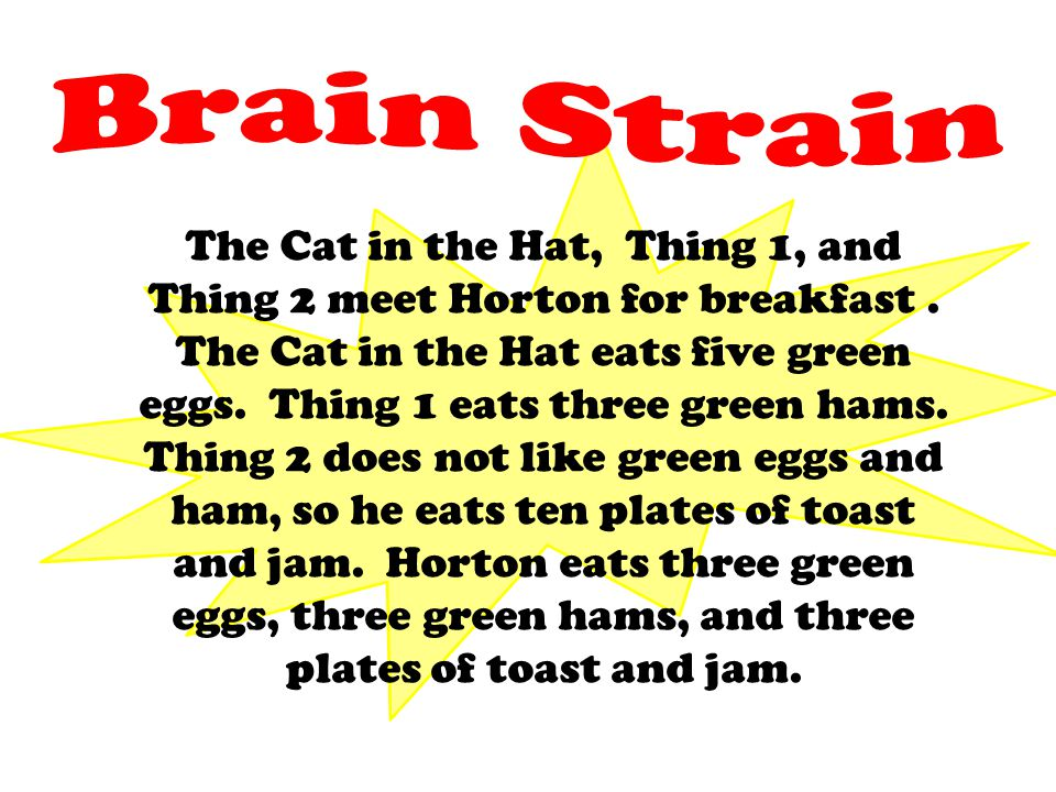 The Cat in the Hat, Thing 1, and Thing 2 meet Horton for breakfast. The Cat in the Hat eats five green eggs. Thing 1 eats three green hams. Thing 2 do