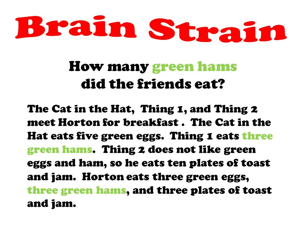 How many green hams did the friends eat? The Cat in the Hat, Thing 1, and Thing 2 meet Horton for breakfast. The Cat in the Hat eats five green eggs.