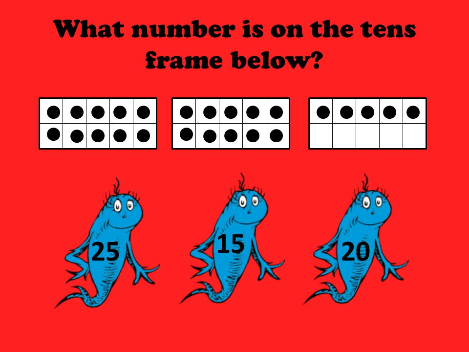 What number is on the tens frame below? 43 50 53