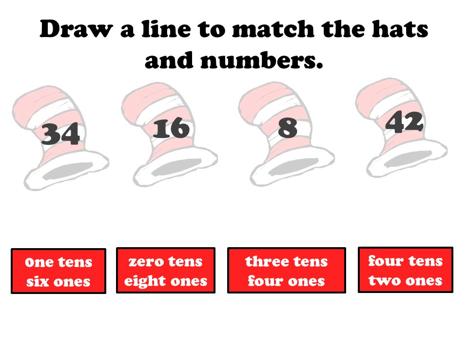 Draw a line to match the hats and numbers.