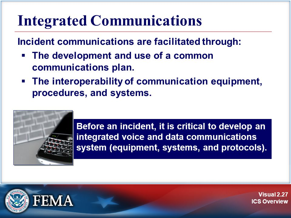 Visual 2.27 ICS Overview Before an incident, it is critical to develop an integrated voice and data communications system (equipment, systems, and pro