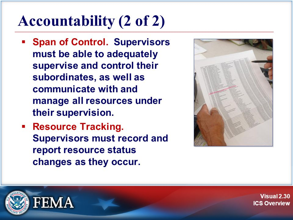 Visual 2.30 ICS Overview Accountability (2 of 2)  Span of Control. Supervisors must be able to adequately supervise and control their subordinates, a