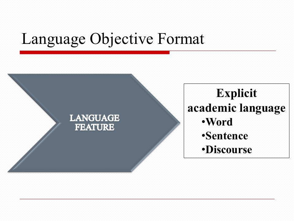 Language Objective Format Explicit academic language Word Sentence Discourse