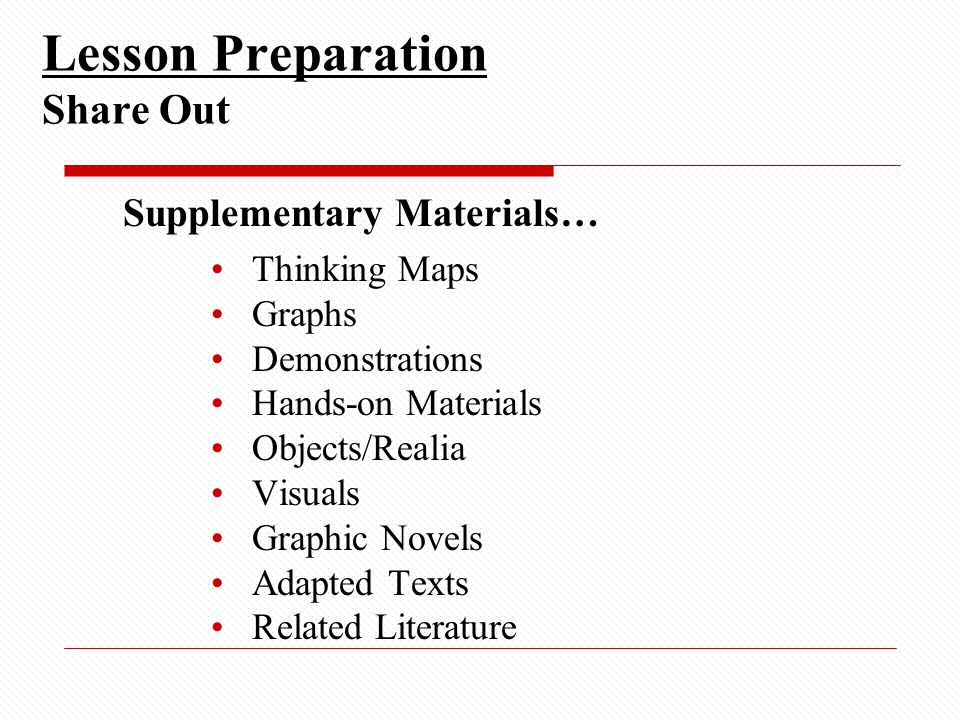Supplementary Materials… Thinking Maps Graphs Demonstrations Hands-on Materials Objects/Realia Visuals Graphic Novels Adapted Texts Related Literature