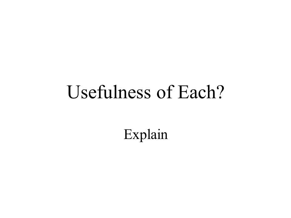 Usefulness of Each? Explain