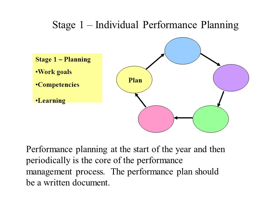 Stage 1 – Individual Performance Planning Stage 1 – Planning Work goals Competencies Learning Performance planning at the start of the year and then p