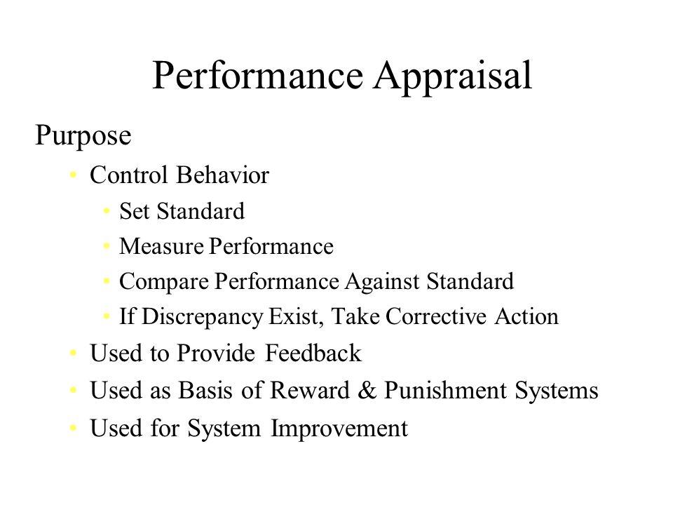 Performance Appraisal Purpose Control Behavior Set Standard Measure Performance Compare Performance Against Standard If Discrepancy Exist, Take Correc