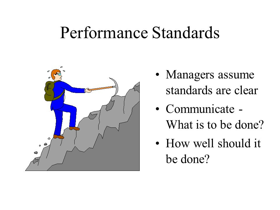 Performance Standards Managers assume standards are clear Communicate - What is to be done? How well should it be done?