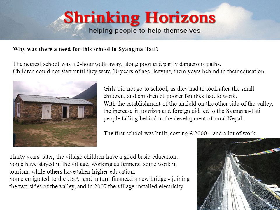 Why was there a need for this school in Syangma-Tati.