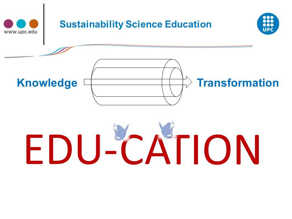 www.upc.edu Knowledge Transformation Sustainability Science Education TION EDU-A C