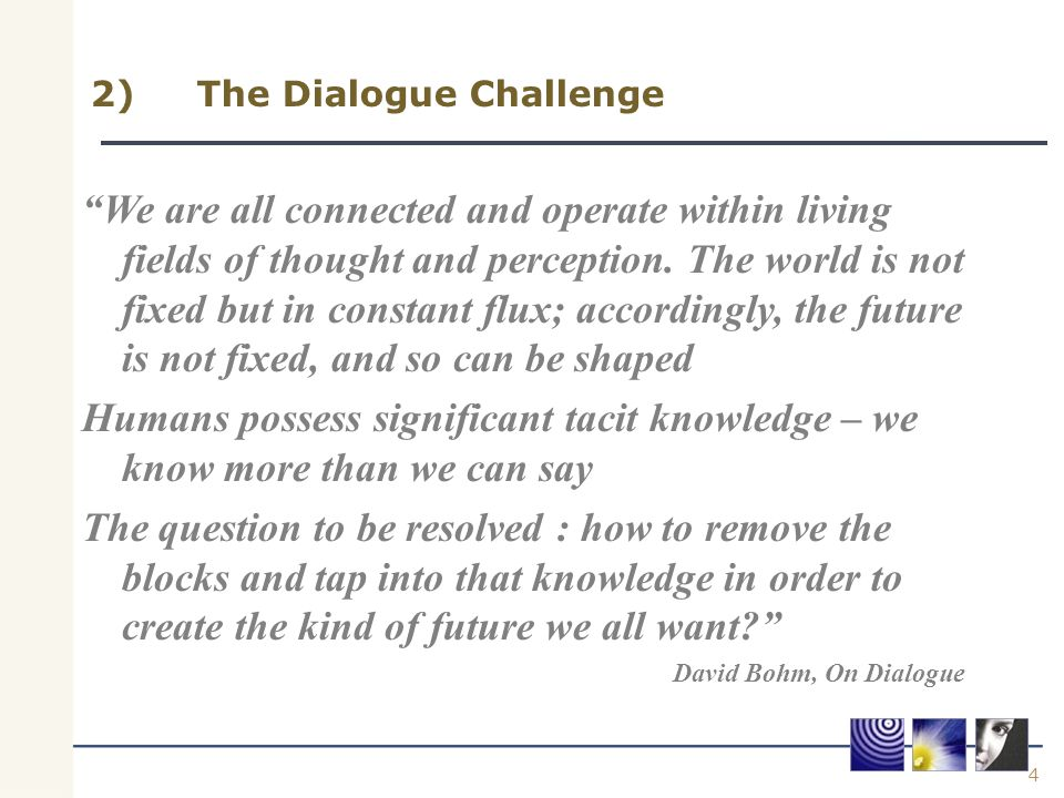 "4 2)The Dialogue Challenge ""We are all connected and operate within living fields of thought and perception. The world is not fixed but in constant fl"