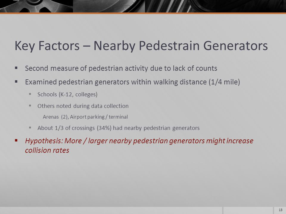 Key Factors – Nearby Pedestrain Generators  Second measure of pedestrian activity due to lack of counts  Examined pedestrian generators within walking distance (1/4 mile)  Schools (K-12, colleges)  Others noted during data collection Arenas (2), Airport parking / terminal  About 1/3 of crossings (34%) had nearby pedestrian generators  Hypothesis: More / larger nearby pedestrian generators might increase collision rates 13