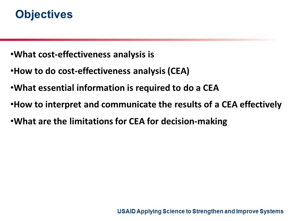 USAID Applying Science to Strengthen and Improve Systems Table of results StrategyCostIncremental cost EffectIncremental effect Inc.