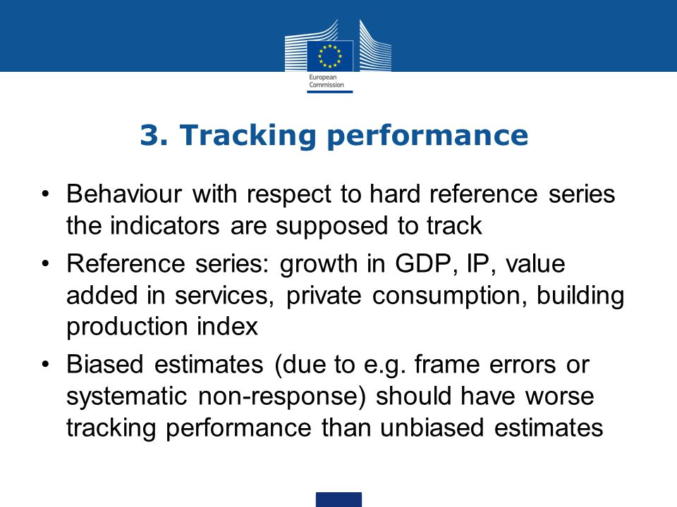 3. Tracking performance Behaviour with respect to hard reference series the indicators are supposed to track Reference series: growth in GDP, IP, valu