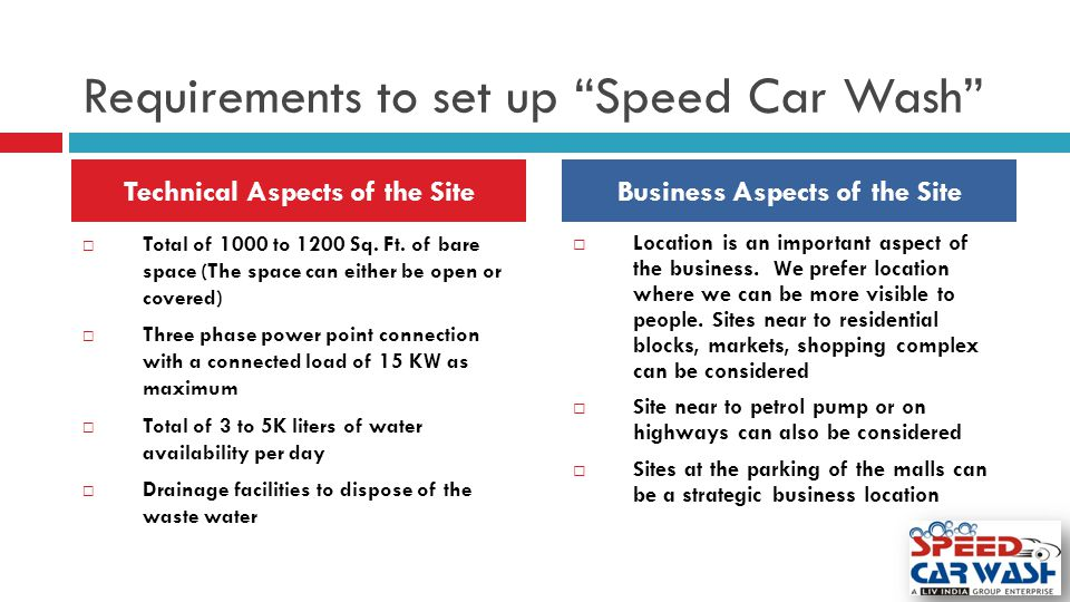 "Requirements to set up ""Speed Car Wash""  Total of 1000 to 1200 Sq. Ft. of bare space (The space can either be open or covered)  Three phase power po"