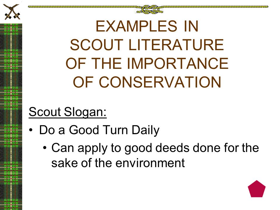 EXAMPLES IN SCOUT LITERATURE OF THE IMPORTANCE OF CONSERVATION Scout Slogan: Do a Good Turn Daily Can apply to good deeds done for the sake of the environment