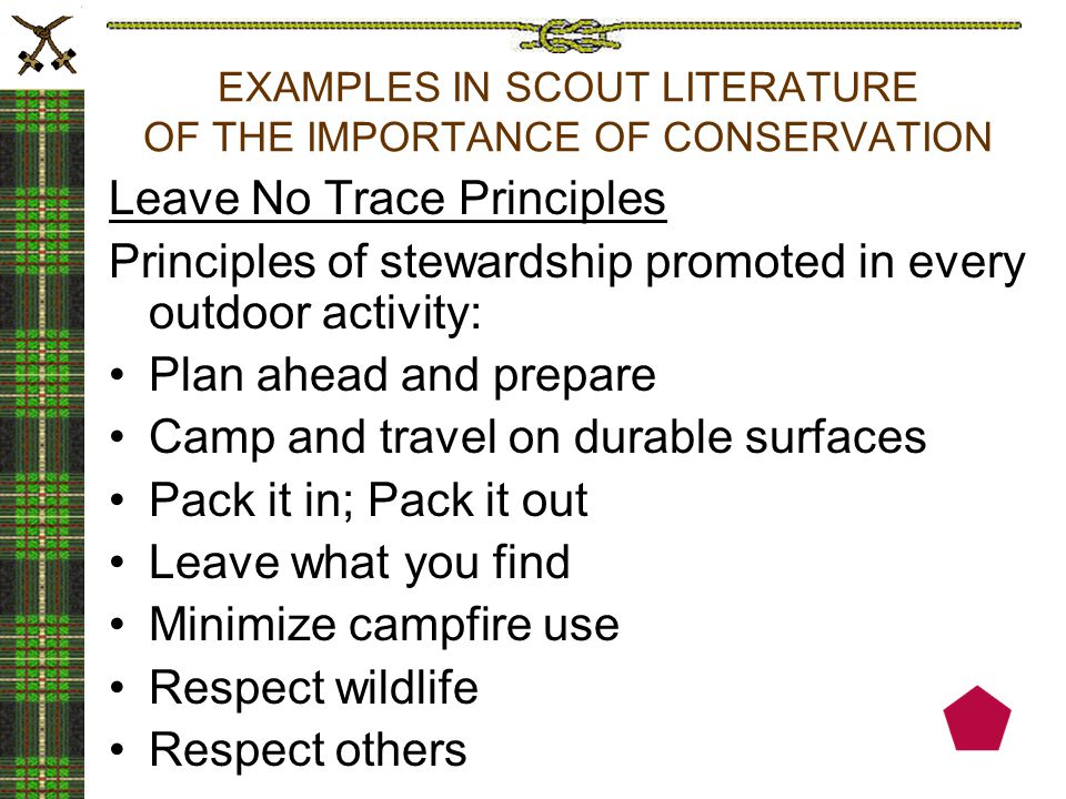 EXAMPLES IN SCOUT LITERATURE OF THE IMPORTANCE OF CONSERVATION Leave No Trace Principles Principles of stewardship promoted in every outdoor activity: Plan ahead and prepare Camp and travel on durable surfaces Pack it in; Pack it out Leave what you find Minimize campfire use Respect wildlife Respect others