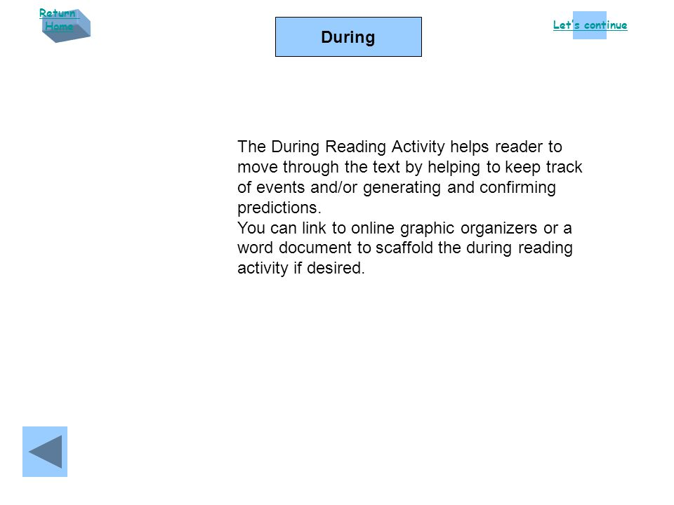 Let's continue Return Home During The During Reading Activity helps reader to move through the text by helping to keep track of events and/or generating and confirming predictions.