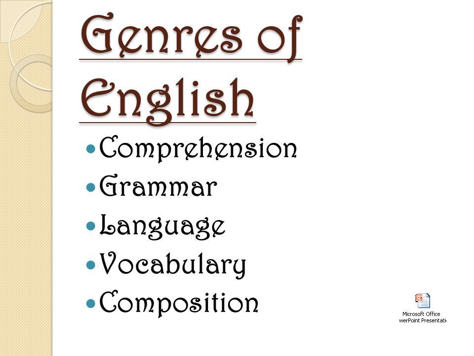 Genres of English Comprehension Grammar Language Vocabulary Composition