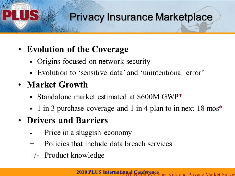 2010 PLUS International Conference Privacy Insurance Marketplace Evolution of the Coverage  Origins focused on network security  Evolution to 'sensitive data' and 'unintentional error' Market Growth  Standalone market estimated at $600M GWP*  1 in 3 purchase coverage and 1 in 4 plan to in next 18 mos* Drivers and Barriers - Price in a sluggish economy +Policies that include data breach services +/-Product knowledge *2010 Betterley Cyber Risk and Privacy Market Survey