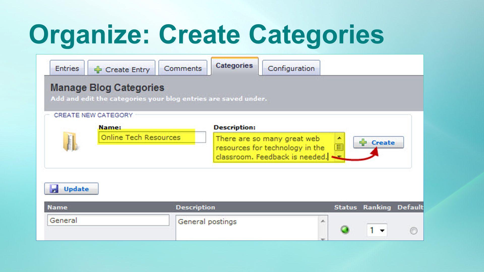 Organize: Create Categories