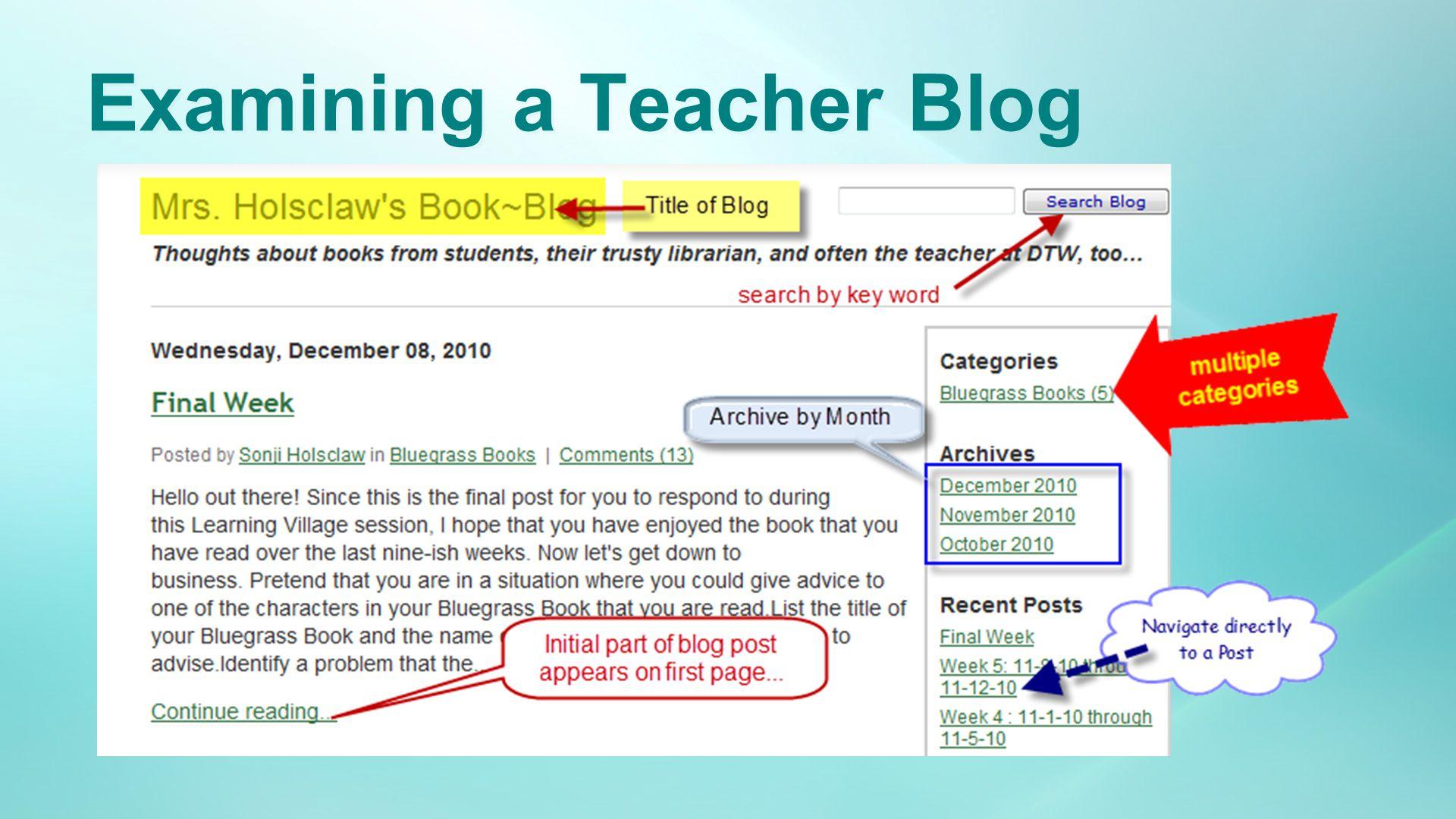 Examining a Teacher Blog
