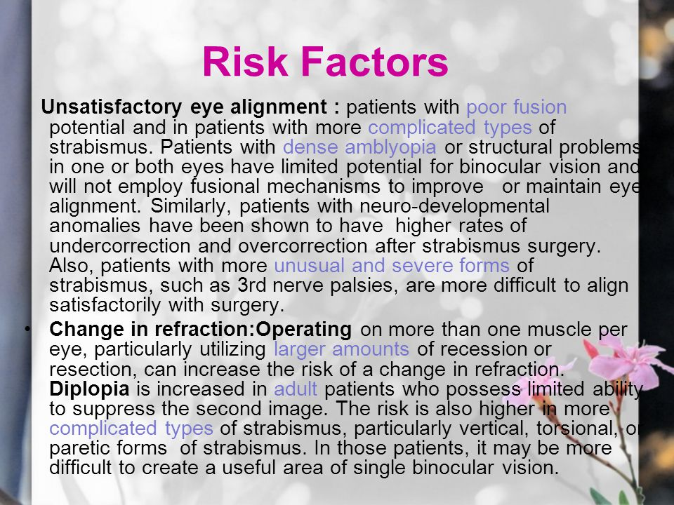 Risk Factors Unsatisfactory eye alignment : patients with poor fusion potential and in patients with more complicated types of strabismus.