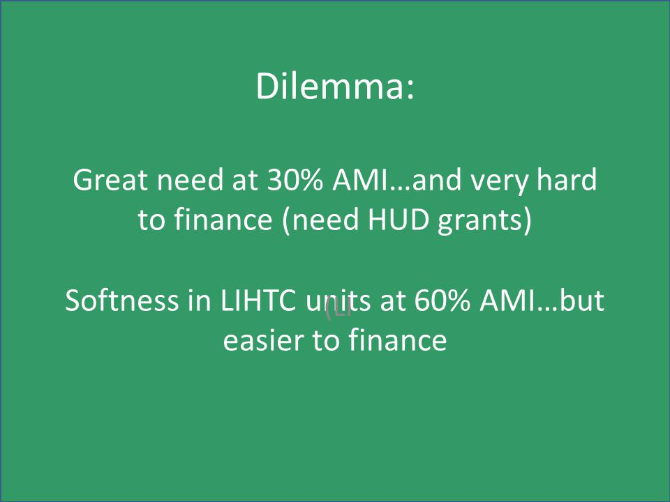 Dilemma: Great need at 30% AMI…and very hard to finance (need HUD grants) Softness in LIHTC units at 60% AMI…but easier to finance (LI