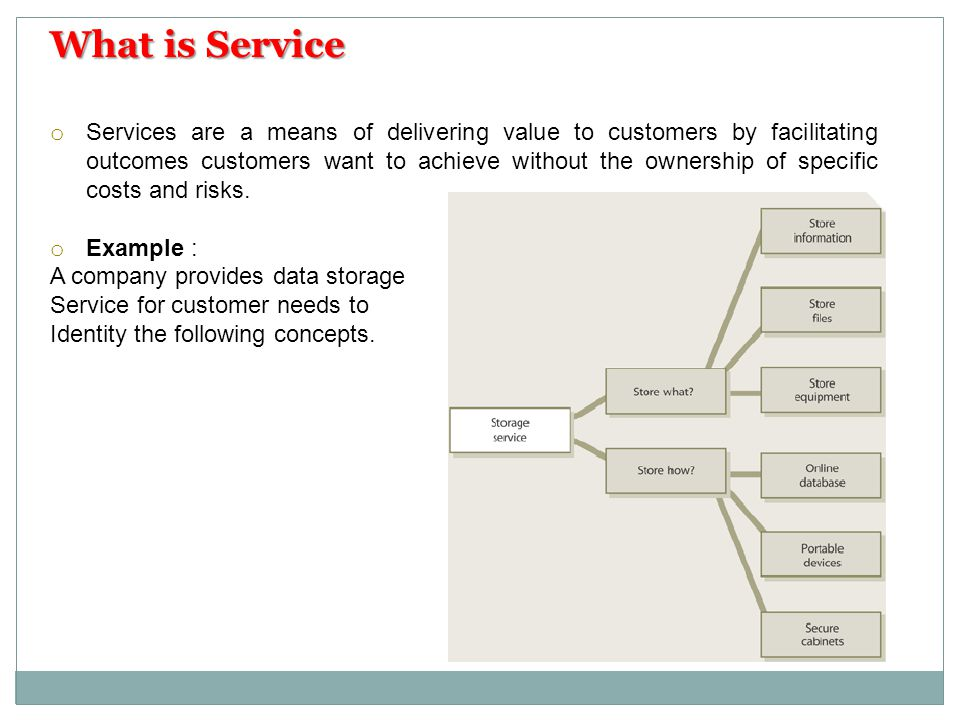 o Services are a means of delivering value to customers by facilitating outcomes customers want to achieve without the ownership of specific costs and