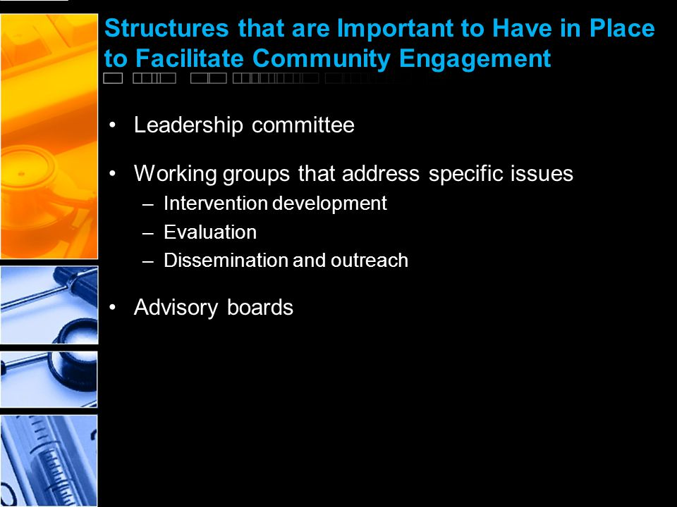 Structures that are Important to Have in Place to Facilitate Community Engagement Leadership committee Working groups that address specific issues –Intervention development –Evaluation –Dissemination and outreach Advisory boards