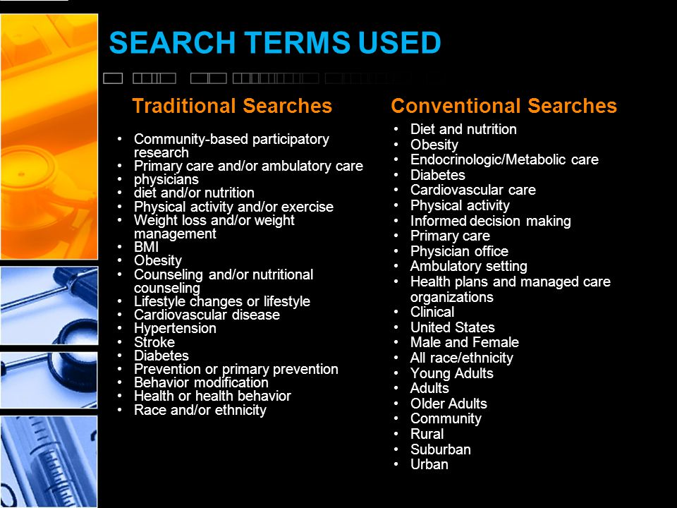 SEARCH TERMS USED Traditional Searches Community-based participatory research Primary care and/or ambulatory care physicians diet and/or nutrition Physical activity and/or exercise Weight loss and/or weight management BMI Obesity Counseling and/or nutritional counseling Lifestyle changes or lifestyle Cardiovascular disease Hypertension Stroke Diabetes Prevention or primary prevention Behavior modification Health or health behavior Race and/or ethnicity Conventional Searches Diet and nutrition Obesity Endocrinologic/Metabolic care Diabetes Cardiovascular care Physical activity Informed decision making Primary care Physician office Ambulatory setting Health plans and managed care organizations Clinical United States Male and Female All race/ethnicity Young Adults Adults Older Adults Community Rural Suburban Urban