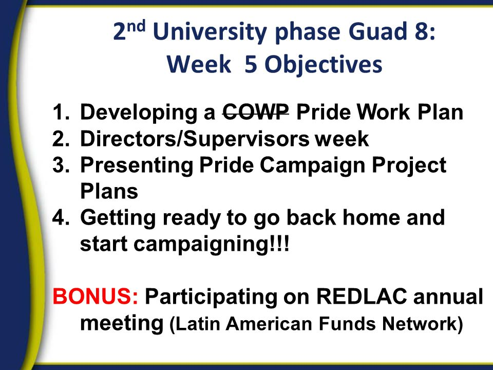 2 nd University phase Guad 8: Week 5 Objectives 1.Developing a COWP Pride Work Plan 2.Directors/Supervisors week 3.Presenting Pride Campaign Project Plans 4.Getting ready to go back home and start campaigning!!.