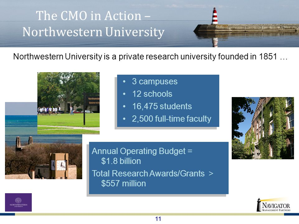 11 The CMO in Action – Northwestern University Northwestern University is a private research university founded in 1851 … 3 campuses 12 schools 16,475 students 2,500 full-time faculty Annual Operating Budget = $1.8 billion Total Research Awards/Grants > $557 million