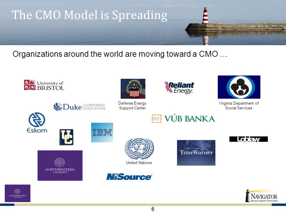 7 A CMO Model A CMO provides a proactive, organized and consistent perspective … … to get repeatable and sustainable results